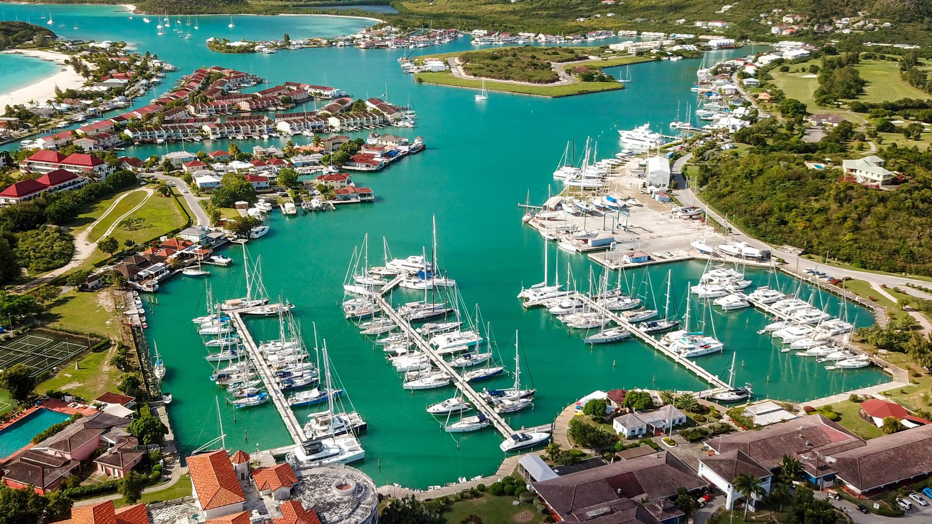 Jolly Harbour Marina aerial view